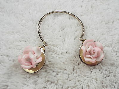 Goldtone Polymer Pink White Rose Flower Sweater Clips (B3)