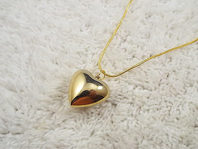 Goldtone Puffed Heart Pendant Necklace (B3)