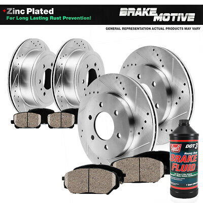 Front+Rear Drill Slot Brake Rotors And Ceramic Pads Kit Enclave Traverse Outlook