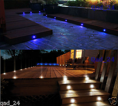 LED DECK LIGHTS 30mm IP67 kit Round Plinth Ground Staircase Wall Indoor Outdoor