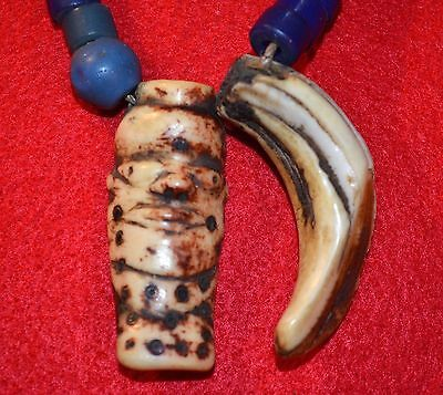 Antique African Pende Tribal Necklace W Carved Cow Bone Face Pendant & Boar Tusk