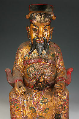 Collection Vintage Old Wooden Spiritual Body Golden Immortal Buddha Statue