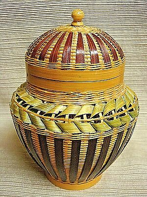Stunning LACQUERED WOVEN BASKET JAR