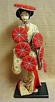 """VINTAGE 15"""" CHINESE WOMAN DOLL in Ornate Costume on Lacquered Wood Base"""
