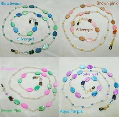 Colorful Hand Beaded Eye Glass Chains and Pin Holder