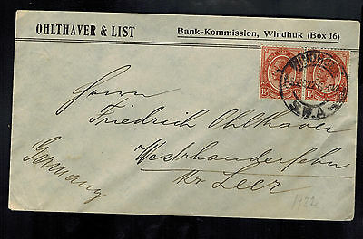 1922 Windhoek Southwest Africa Cover to Germany Bank Kommission
