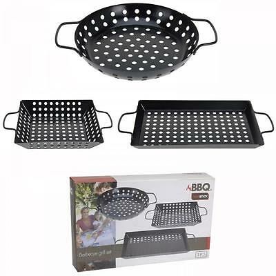 BBQ 3 Piece Non Stick Barbecue Grill Cooking Baking Pan Set Non Stick Cookware