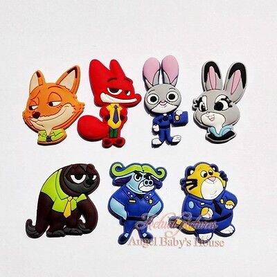 Novelty 7PCS Zootopia PVC shoe charms for Bands JIBZ,shoe Accessories kids gifts