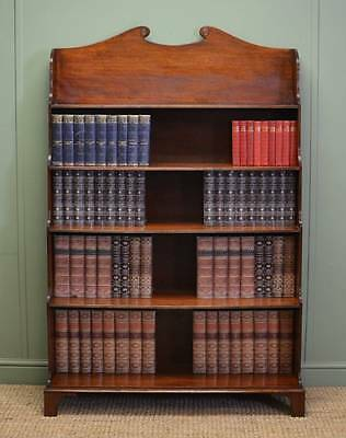 Unusual Edwardian Mahogany Waterfall Antique Open Bookcase