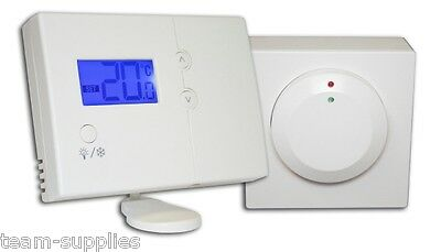 Wireless Digital Room Thermostat & Receiver RF Stat NON Programmable TWR Heating