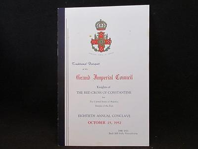 Grand Imperial Council Knights of Red Cross of Constantine 80th Conclave 1952