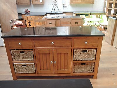 Oakwood Premium Oak & Granite Kitchen Island Solid Heavy Unit 310Bg Stunning