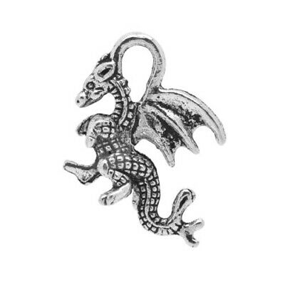 Packet of 10 x Antique Silver Tibetan 21mm Charms Pendants (Dragon) ZX04090