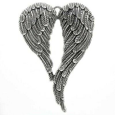 Packet of 1 x Antique Silver Tibetan 70mm Charms Pendants (Angel Wings) ZX05415