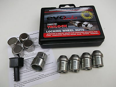 Set of 4 Evo Locking Wheel Nuts with Chrome Covers (21mm Hex) (AGA171-LWNS)c