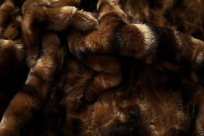 Super Luxury Faux Fur Fabric Material - DARK BROWN & BLACK TEXTURED MIX