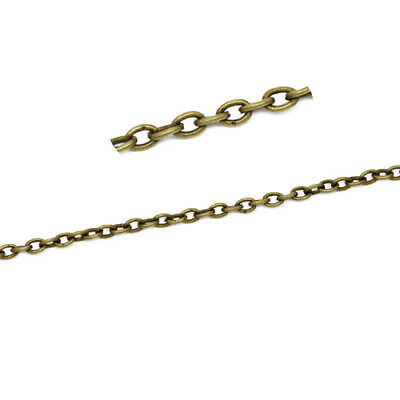 10m x Antique Bronze Anti Tarnish Metal Alloy 2 x 3mm Open Cable Chain CH1680