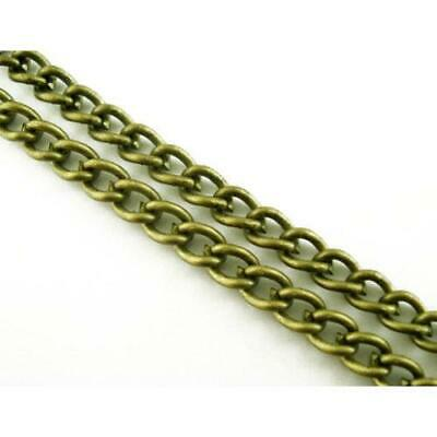 5m x Antique Bronze Plated Metal Alloy 3 x 4.8mm Open Curb Chain CH1130