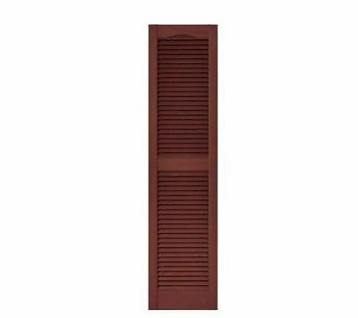 Exterior Window Shutters House Home Louvered Vinyl Pair Red Wood Grain Texture