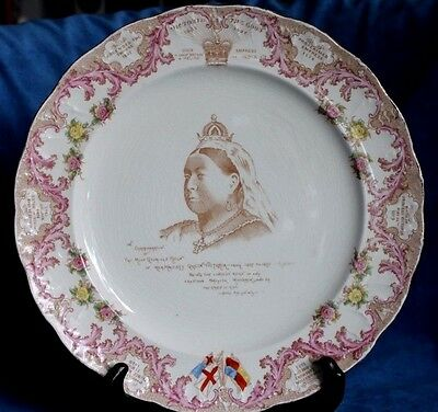 ANTIQUE Queen Victoria 1897 Jubilee Pink Polychrome COMMEMORATIVE DISPLAY PLATE