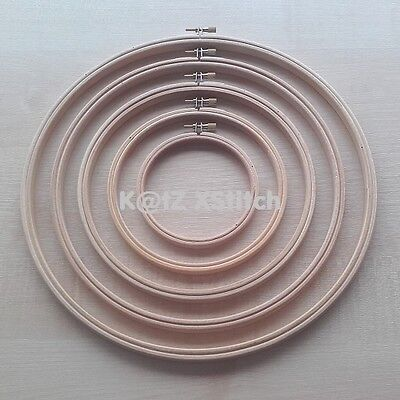 SET OF WOODEN CROSS STITCH / EMBROIDERY HOOPS / RINGS 3in - 12in (7.5cm - 30cm)