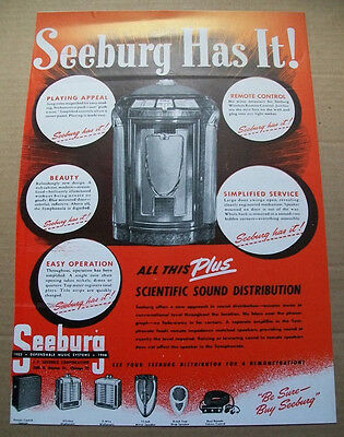 Seeburg Symphonola phonograph 1946 Ad- beauty playing appeal remote control