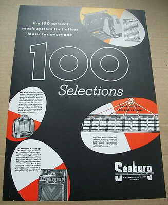 Seeburg 100 Select-o-matic phonograph 1950 Ad- the 100 percent music system