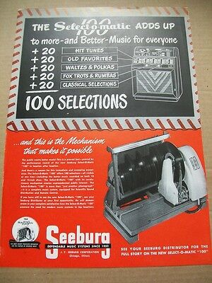 Seeburg 100 Select-o-matic phonograph 1949 Ad- adds up to more and better music
