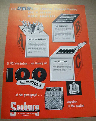 Seeburg 100 Selections phonograph 1950 Ad- fast reference easy selection