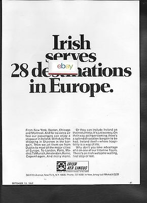 Irish Aer Lingus Airlines 1969 Serves 28 Cities In Europe Ad