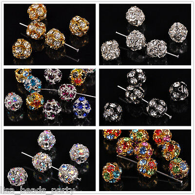 New 10pcs 12mm Round Silver Plated Rhinestone Glass Loose Spacer Beads Findings