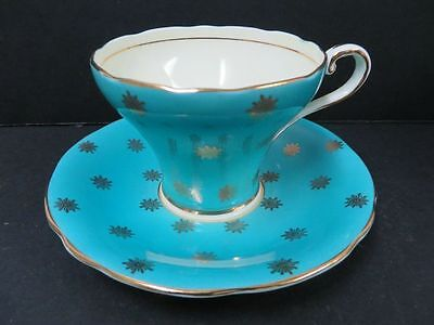 Aynsley England Teacup & Saucer Peacock Blue Corset Style Vintage Gold gilt