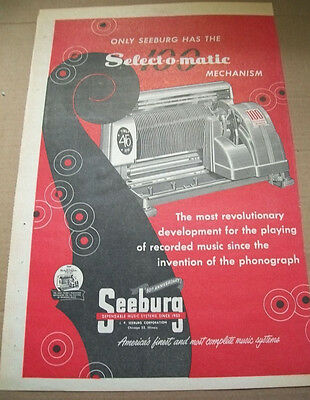 Seeburg 100 Selections Select-o-matic phonograph 1952 Ad- the most revolutionary