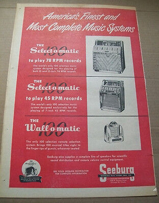 Seeburg 100 Selections Select-o-matic phonograph 1951 Ad- to play 78 RPM 45 RPM