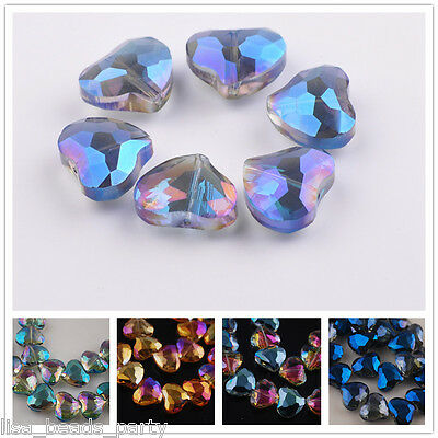 5pcs 18x16mm Faceted Crystal Glass Heart Jewelry Findings Loose Spacer Beads