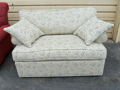 49945  Ethan Allen Upholstered Loveseat Sofa Couch With Pillows