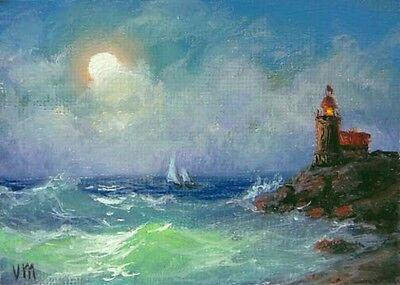 SHIP IN ROUGH SEA EDDYSTONE DEVON LIGHTHOUSE SEASCAPE PAINTING ART CANVAS PRINT