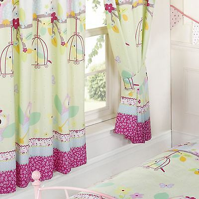 """OWLS 'TWIT TWOO' BIRDS FLOWERS 66"""" x 72"""" LINED CURTAINS WITH TIE-BACKS GIRLS"""