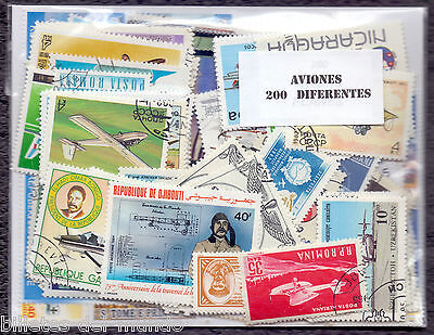 B-D-M Lote 200 sellos mundiales diferentes avion - 200 different stamps aviation
