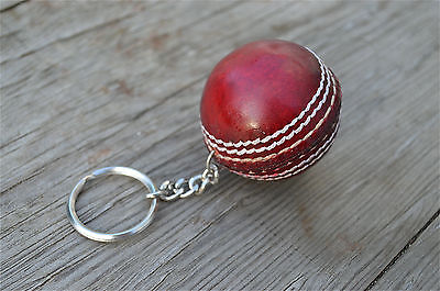 Vintage style leather cricket ball keyring key chain handstictched red leather