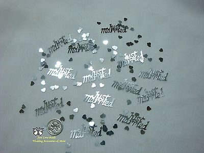 Wedding Table Scatters Confetti Just Married Silver - Mix