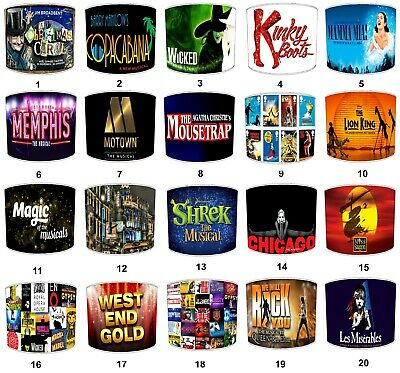 Lampshades Ideal To Match West End Musical Shows Posters Wall Art & Wall Decals.