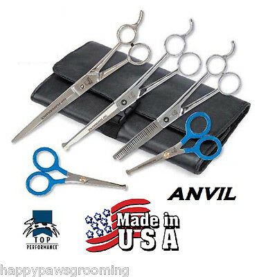 ANVIL TP 5 pc SET PET Dog PRO GROOMING THINNING,CURVED&STRAIGHT SHEARS Scissors