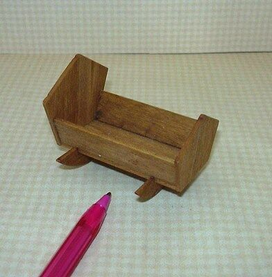 "Miniature LARGE Wooden Doll Cradle for Dolls up to 1 3/4"" long: DOLLHOUSE 1/12"
