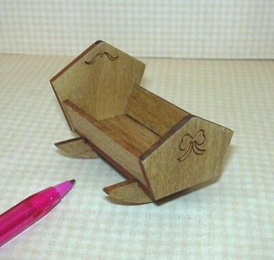 "Miniature Wooden Doll Cradle w/Sweet BOW ETCHING for 1 3/4"" Dolls DOLLHOUSE 1/12"