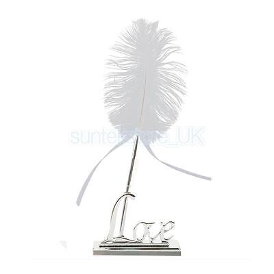 Wedding White Feather Quill Guest Book Signing Pen with Love Holder