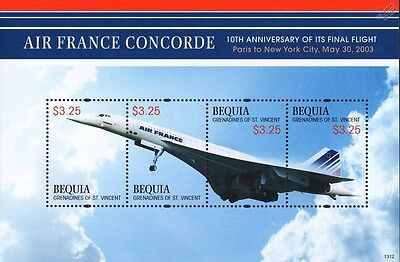 Air France CONCORDE Paris to New York City Flight Airliner Aircraft Stamp Sheet