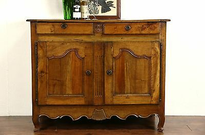 Country French 1760's Antique Fruitwood Sideboard, Server or Buffet
