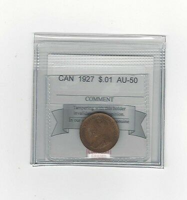 **1927**Coin Mart Graded Canadian Small One Cent, **AU-50**