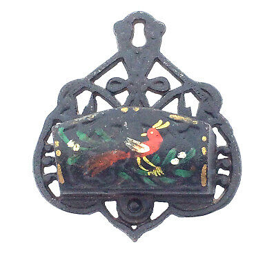 Vintage Burroughs Cast Iron Wall Pocket Letter Box Red & Yellow Bird
